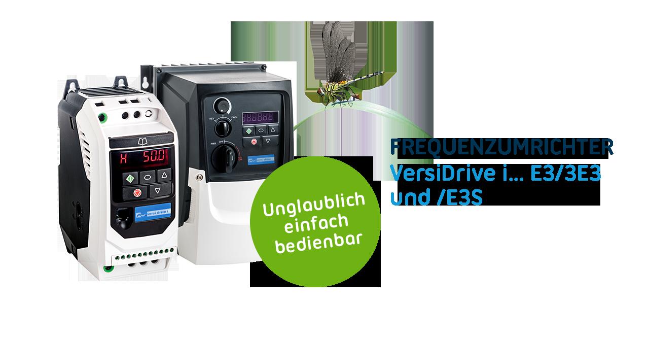 Neue Frequenzumrichter VersiDrive i E3/3E3 und E3S bringen Elektroantriebe energiesparend auf Touren