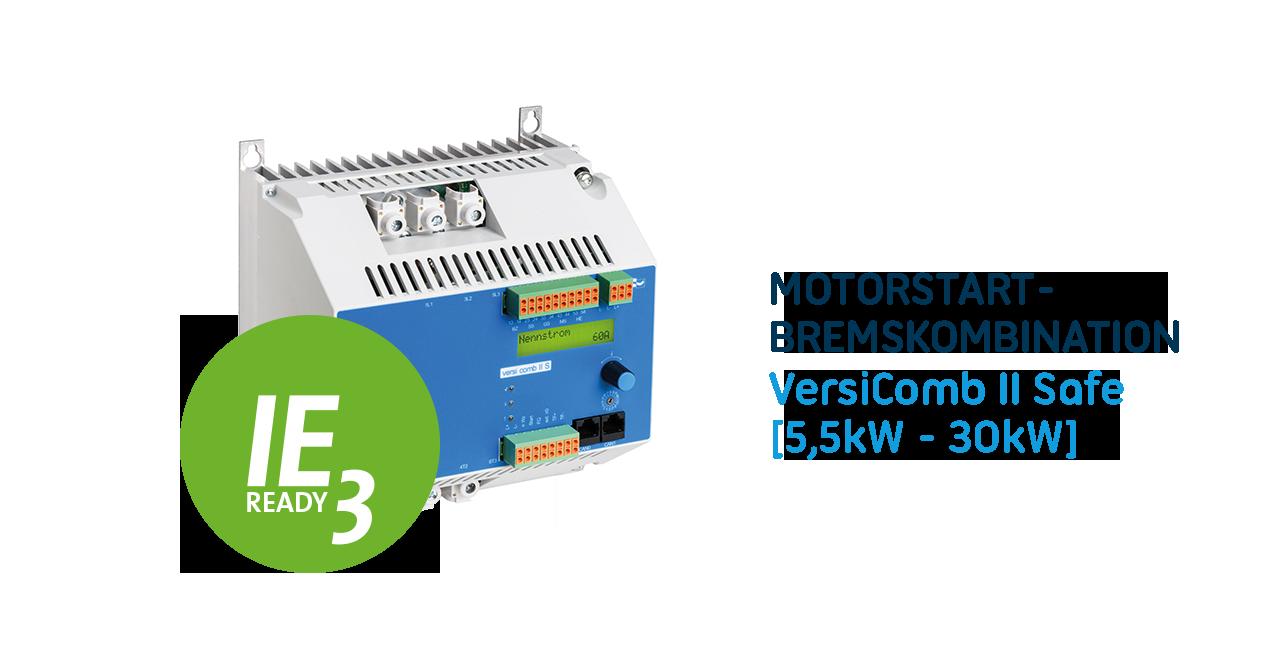 Neue Generation der Softstarter und Bremsgerät Kombination VersiComb II Safe: Thermischer Motorschutz und flexiblere Montage für eine Vielzahl von IE1 bis IE3 Motoren